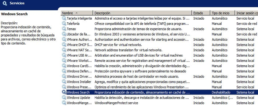 Windows Search desactivado