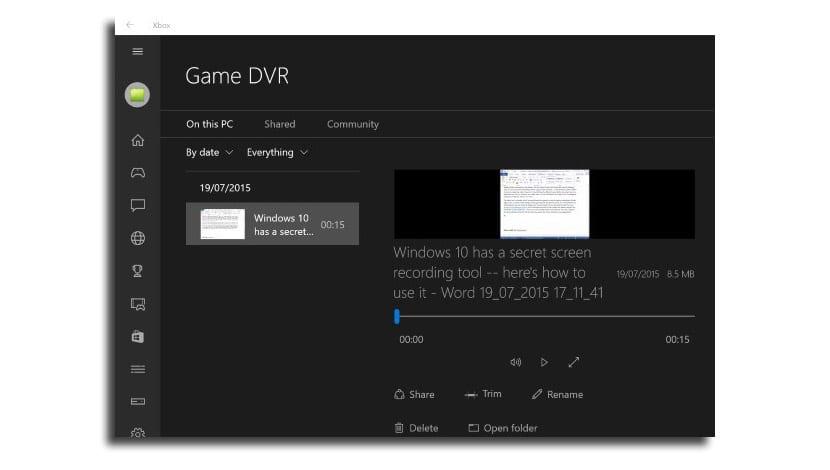Grabación vídeo