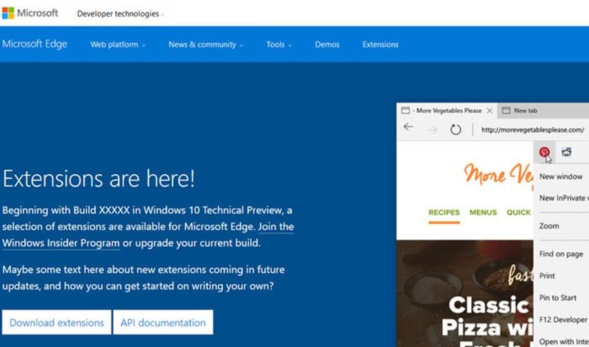 Extensiones Microsoft Edge