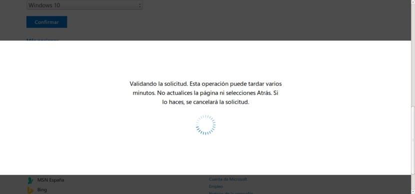 Ventana para descargar ISO Windows 10