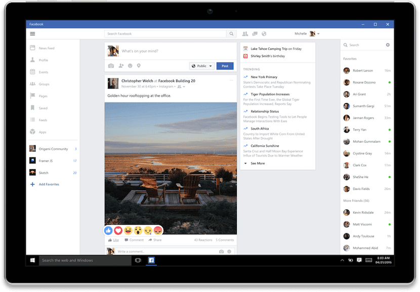 facebook-version-windows-10-aplicación