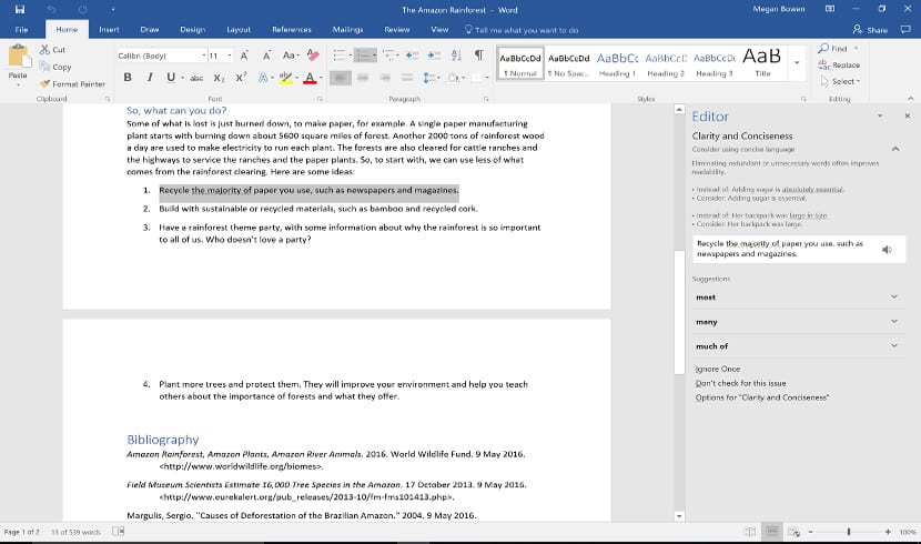 Captura de pantalla con Editor el nuevo corrector ortográfico