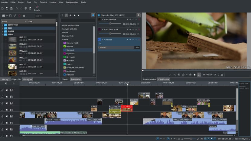 Captura de pantalla de Kdenlive.