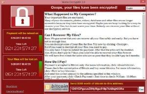 Captura de pantalla del funcionamiento de WannaCry
