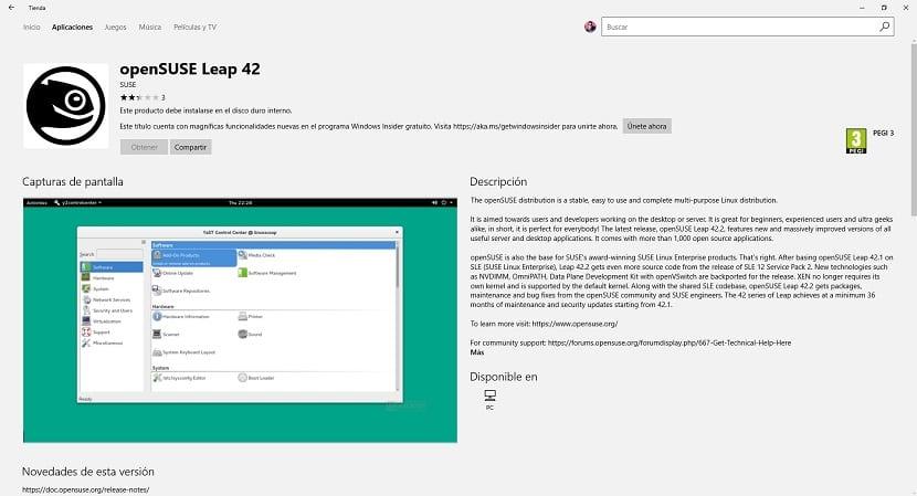 Imagen de openSUSE en la Windows Store