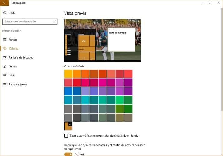 Imagen del panel de personalización Windows 10