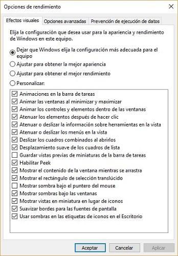 Imagen de los efectos visuales de Windows 10