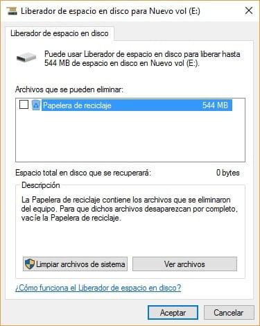 Imagen del liberador de espacio de Windows 10