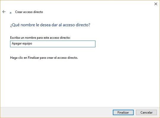 Imagen del acceso directo para apagar Windows 10