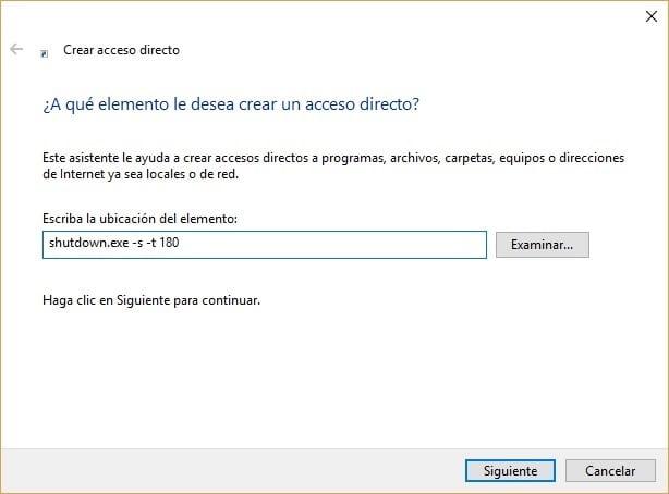 Imagen del acceso directo para apagar el ordenador con temporizador