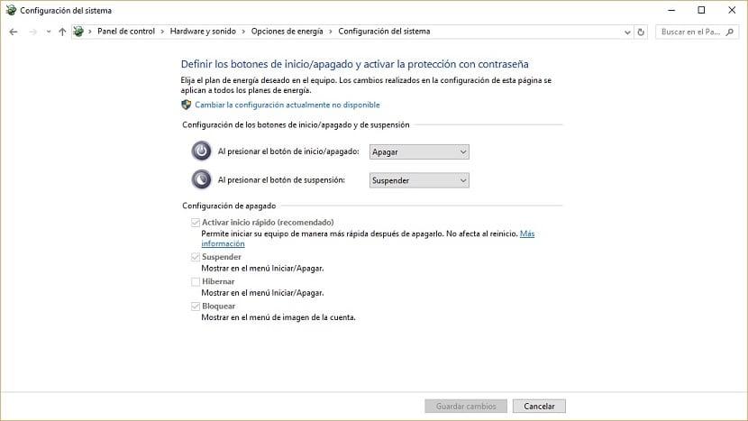Imagen de las opciones de energía de Windows 10