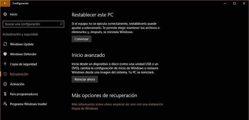 Imagen del menú de recuperación de Windows 10