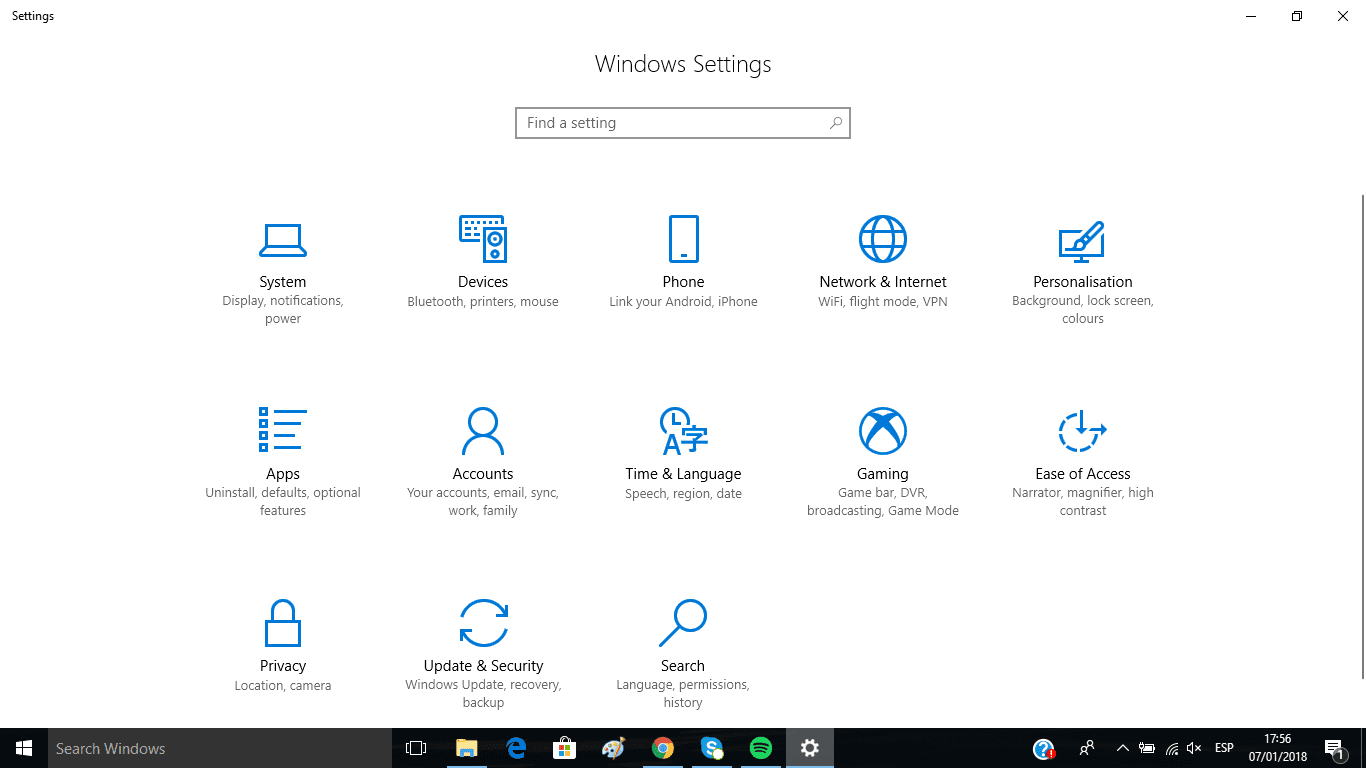 Ajustes Windows 10