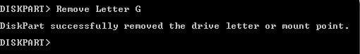 Remove Letter G Diskpart
