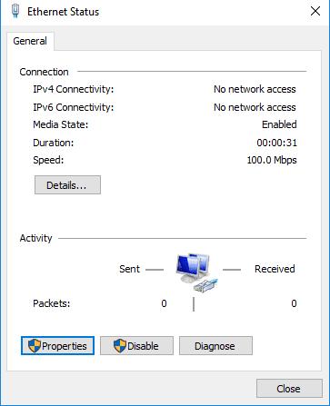 Velocidad tarjeta de red