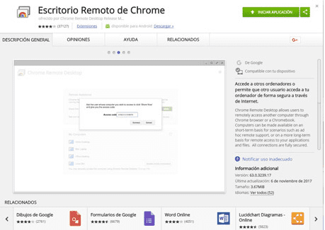 Escritorio remoto Chrome