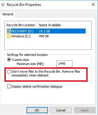 Papelera Windows 10