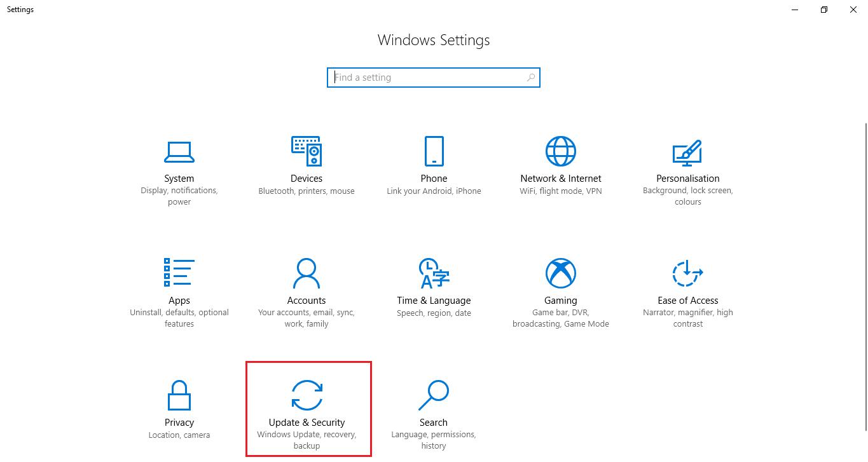Actualizaciones y seguridad configuracion