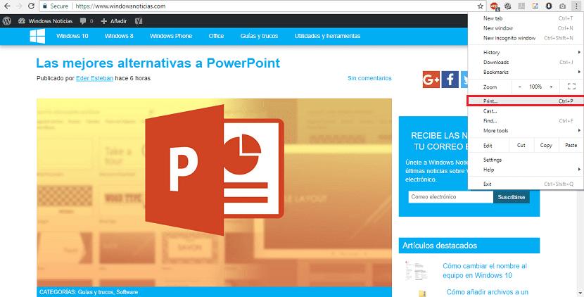 Imprimir página web