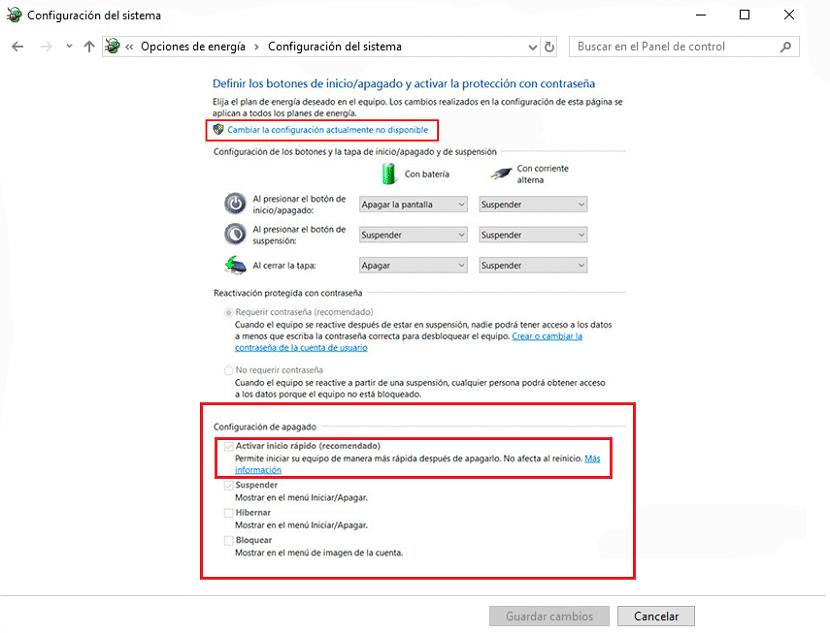 Activar inicio rápido Windows 10