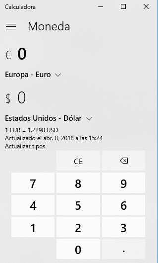 Conversor moneda Windows 10
