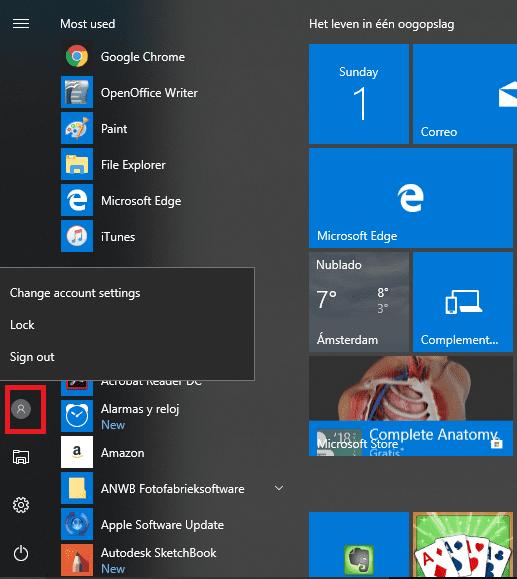 Menú de inicio Windows 10