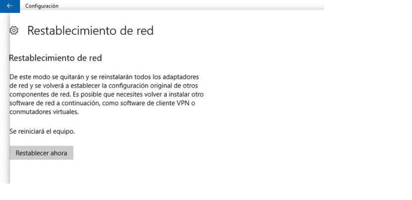 Restablecimiento de red