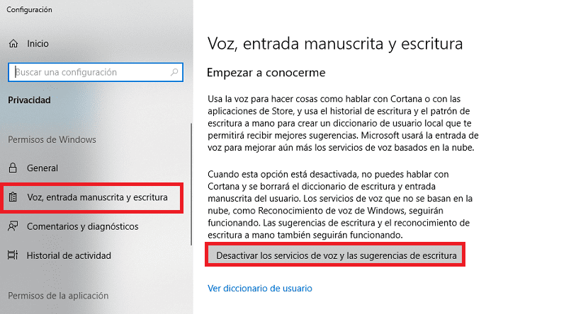 Borrar datos Cortana