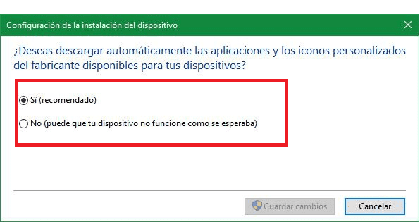 Desactivar actualizaciones drivers