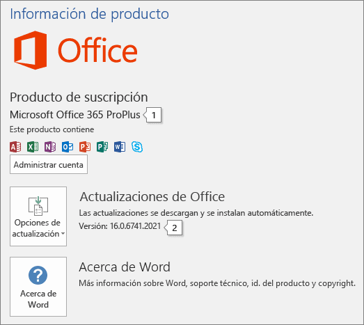 Informacion de Microsoft Office
