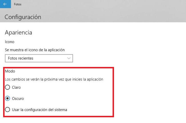 Modo oscuro Fotos Windows 10