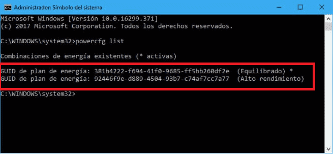 Plan energia Windows 10