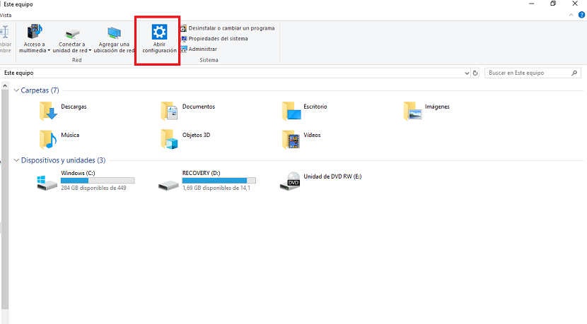 Configuracion Windows 10 explorador de archivos