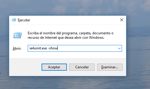 Ejecutar comando iconos Windows 10