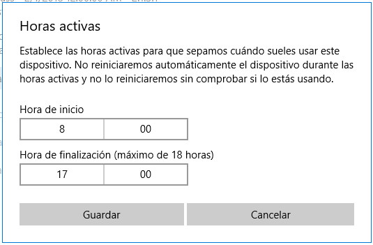 Horas activas Windows 10