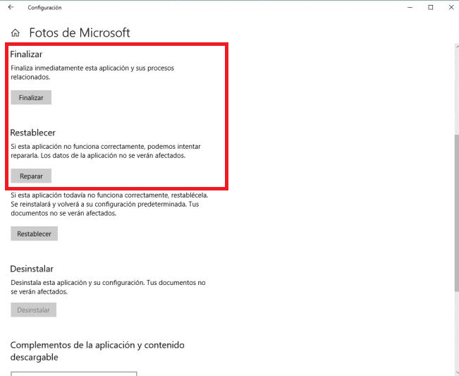 Reparar restablecer fotos Windows 10
