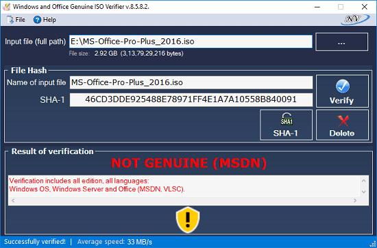 Windows Office verificar ISO