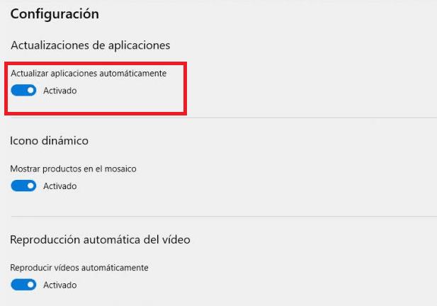Actualizar aplicaciones Windows