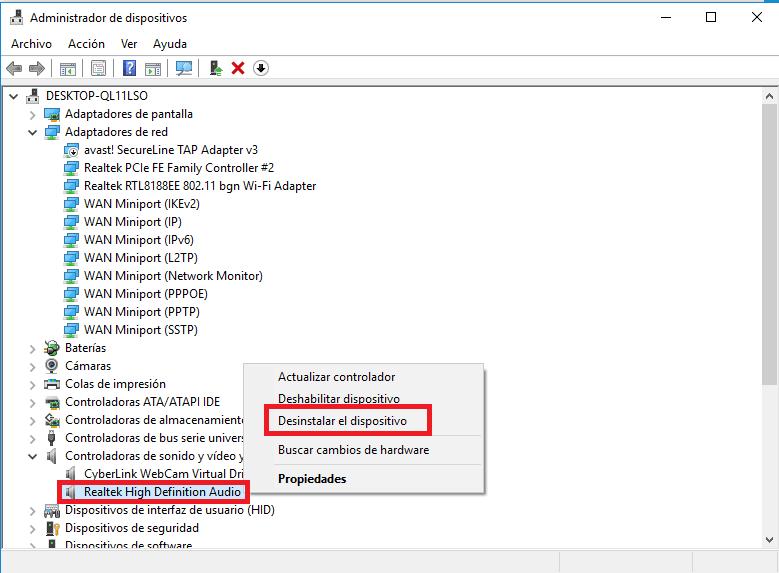Desinstalar driver Realtek
