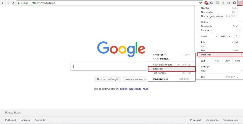 Google Chrome extensiones