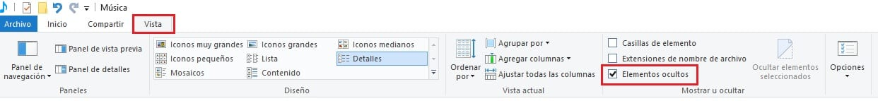Mostrar elementos ocultos Windows 10