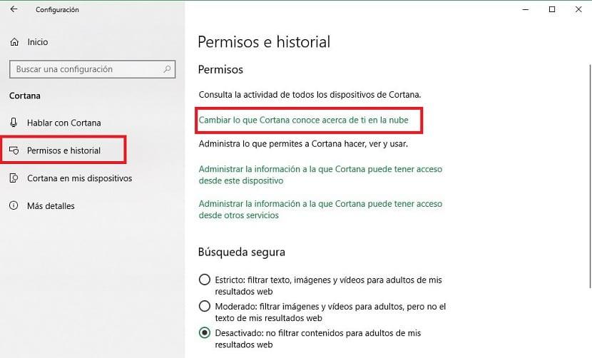 Cortana datos