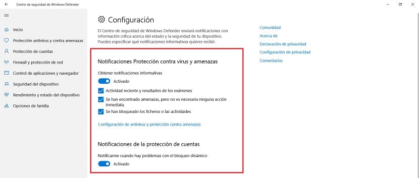 Notificaciones Windows Defender