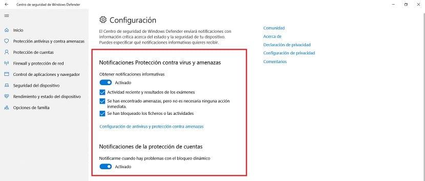 Notificaciones Windows Defender