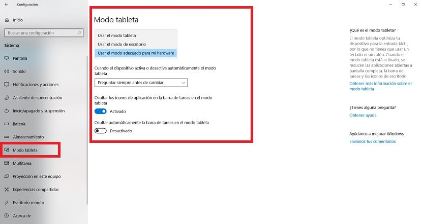 Modo tableta Windows 10