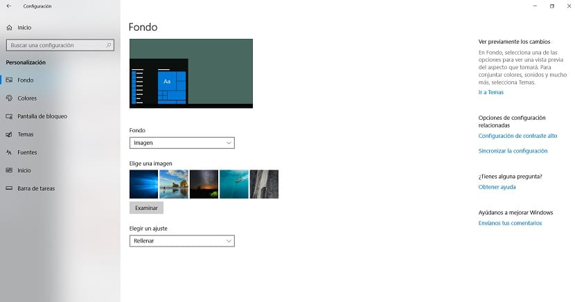 Windows 10 elegir fondo