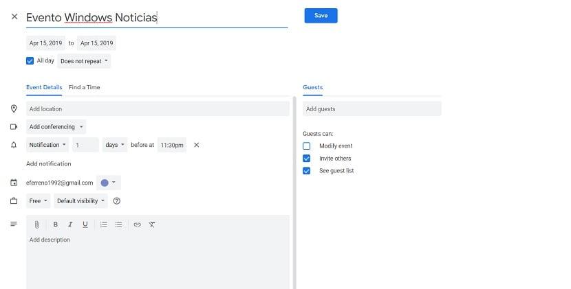 Crear evento Google Calendar