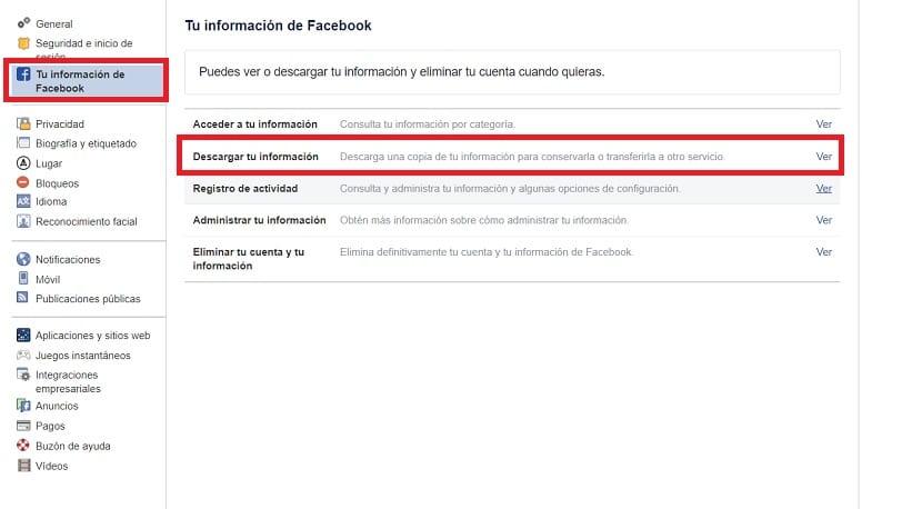 Descargar datos Facebook