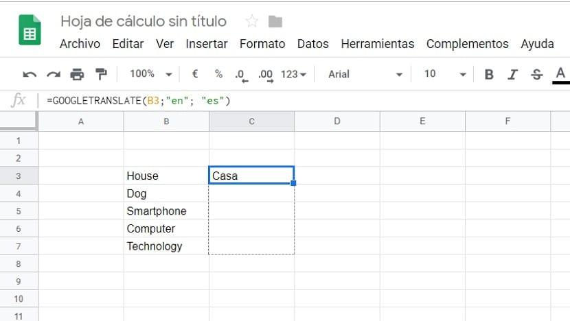 Google Sheets traducir