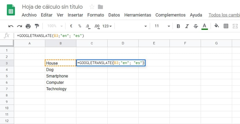 Traductor Google Sheets